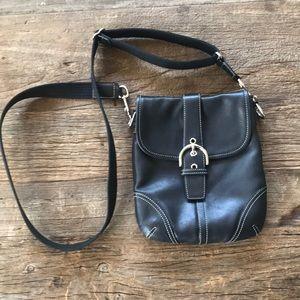 Coach Black Leather Crossbody Messenger Bag